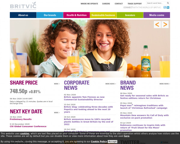 Desktop screenshot of Britvic website