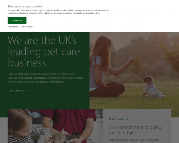 Desktop screenshot of Pets at Home Group PLC website