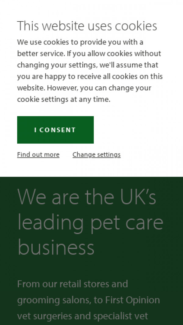 Mobile screenshot of Pets at Home Group PLC website