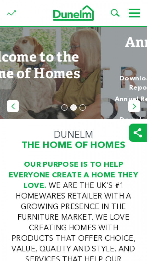 Mobile screenshot of Dunelm Group website