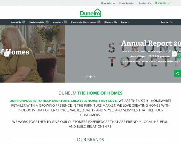 Desktop screenshot of Dunelm Group website