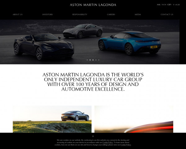 Desktop screenshot of Aston Martin Lagonda website
