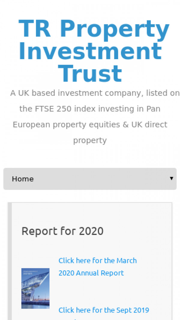 Mobile screenshot of TR Property Investment Trust website