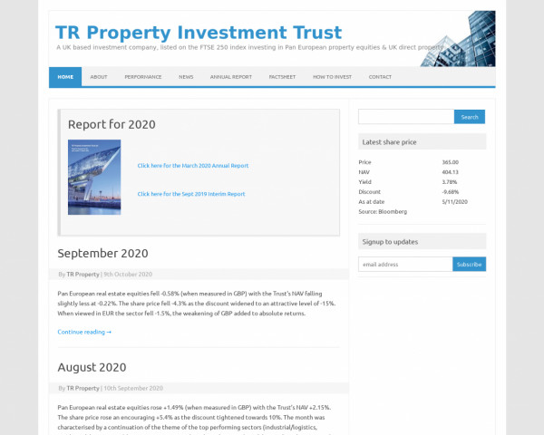 Desktop screenshot of TR Property Investment Trust website