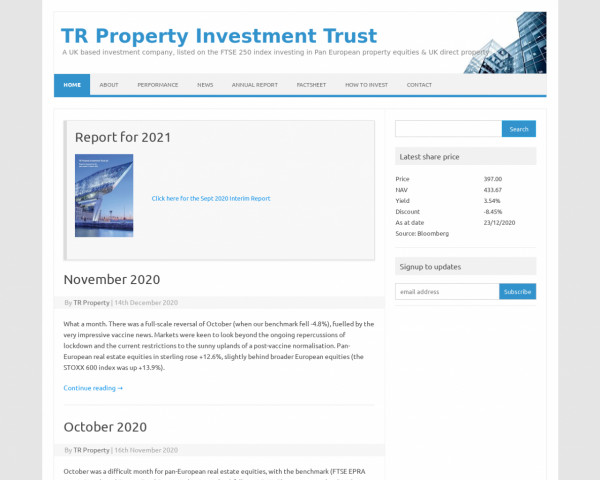 Screenshot of TR Property Investment Trust – A UK based investment company, listed on the FTSE 250 index investing in Pan European property equities & UK direct property