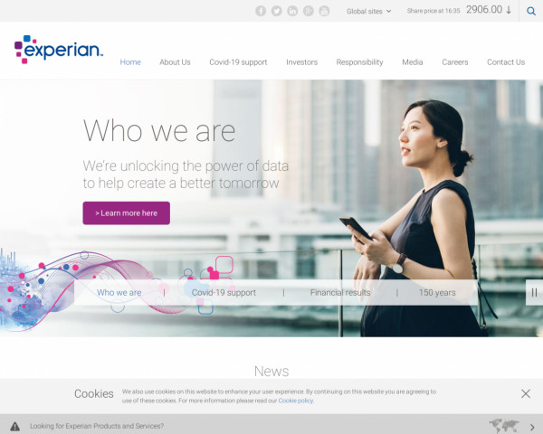 Desktop screenshot of Experian PLC website