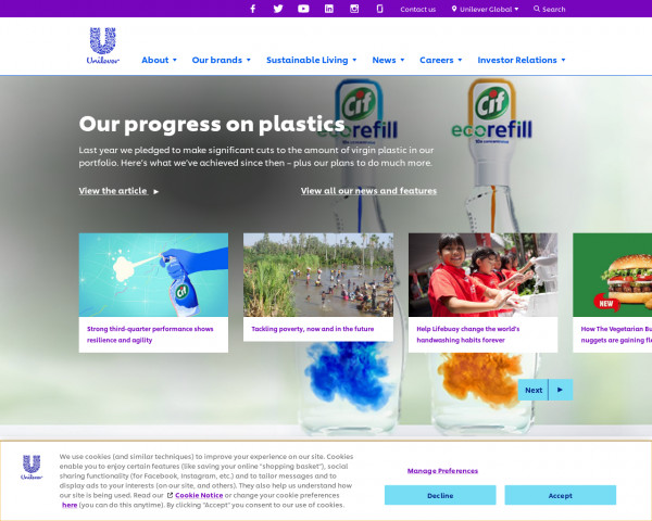 Desktop screenshot of Unilever website