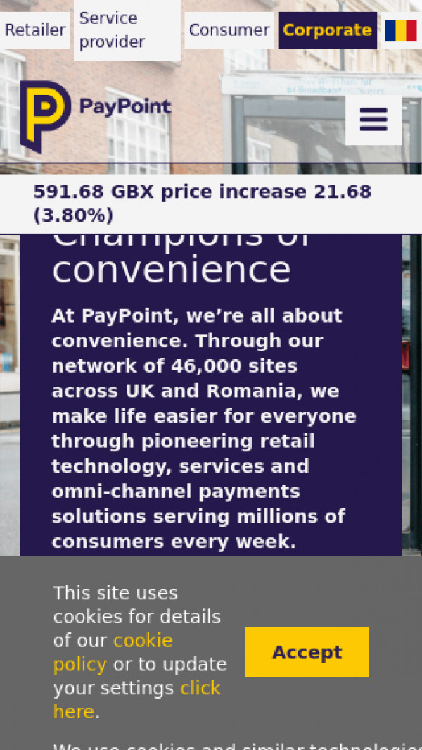 Mobile screenshot of PayPoint website