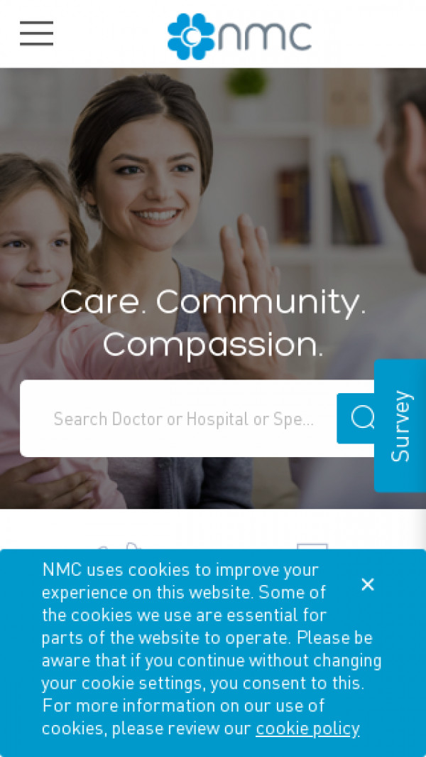 Mobile screenshot of NMC Health website
