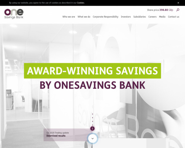 Desktop screenshot of OneSavings Bank website