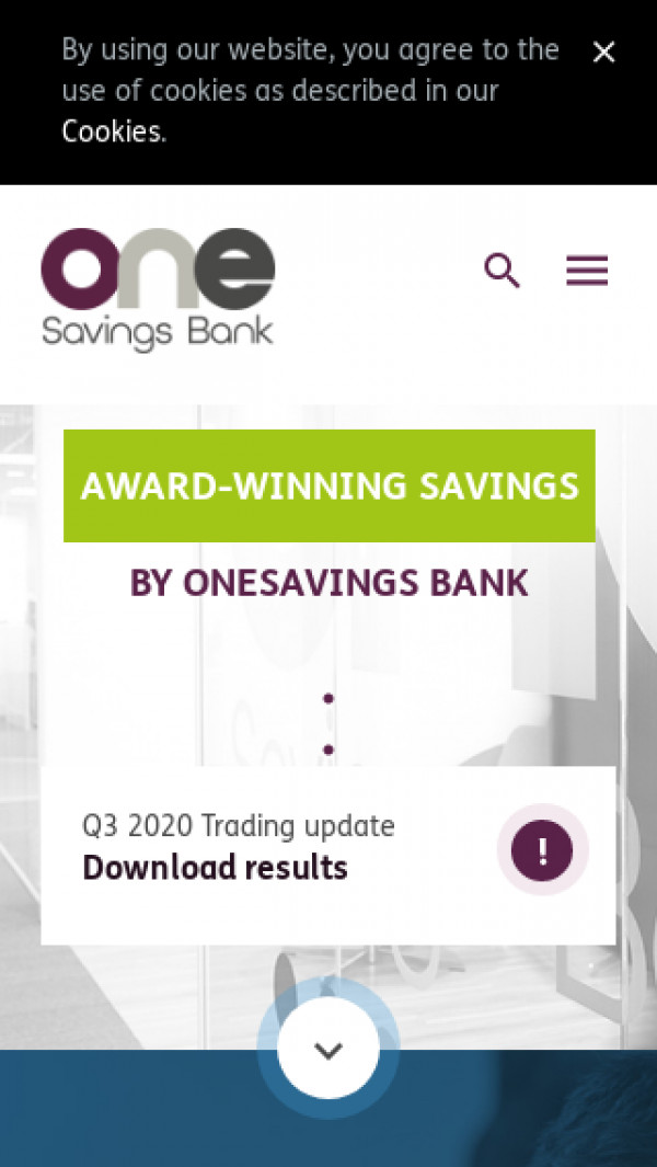 Mobile screenshot of OneSavings Bank website