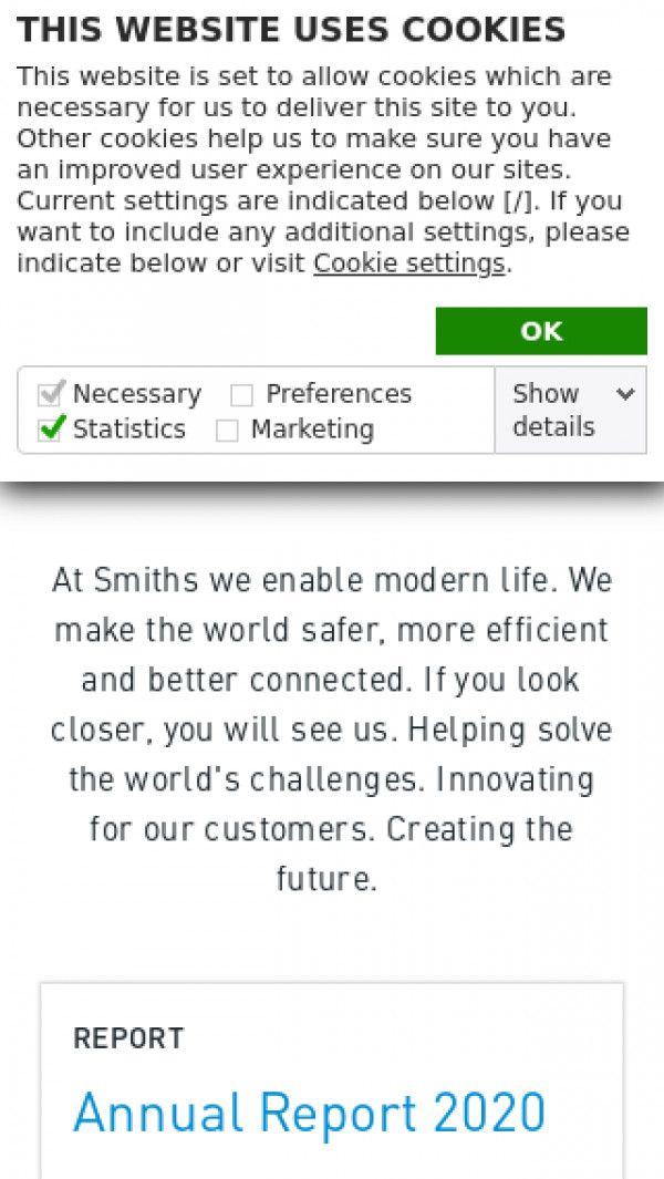 Mobile screenshot of Smiths Group website