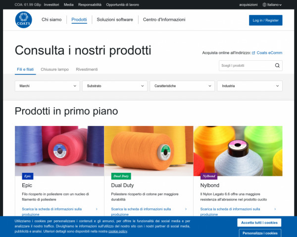 Screenshot of Prodotti - Coats