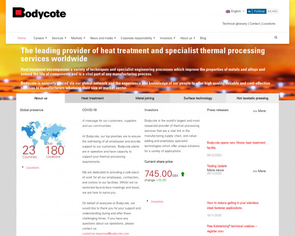 Screenshot of The leading provider of heat treatment and specialist thermal processing services worldwide – Bodycote plc