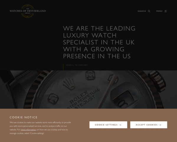 Desktop screenshot of Watches of Switzerland PLC website