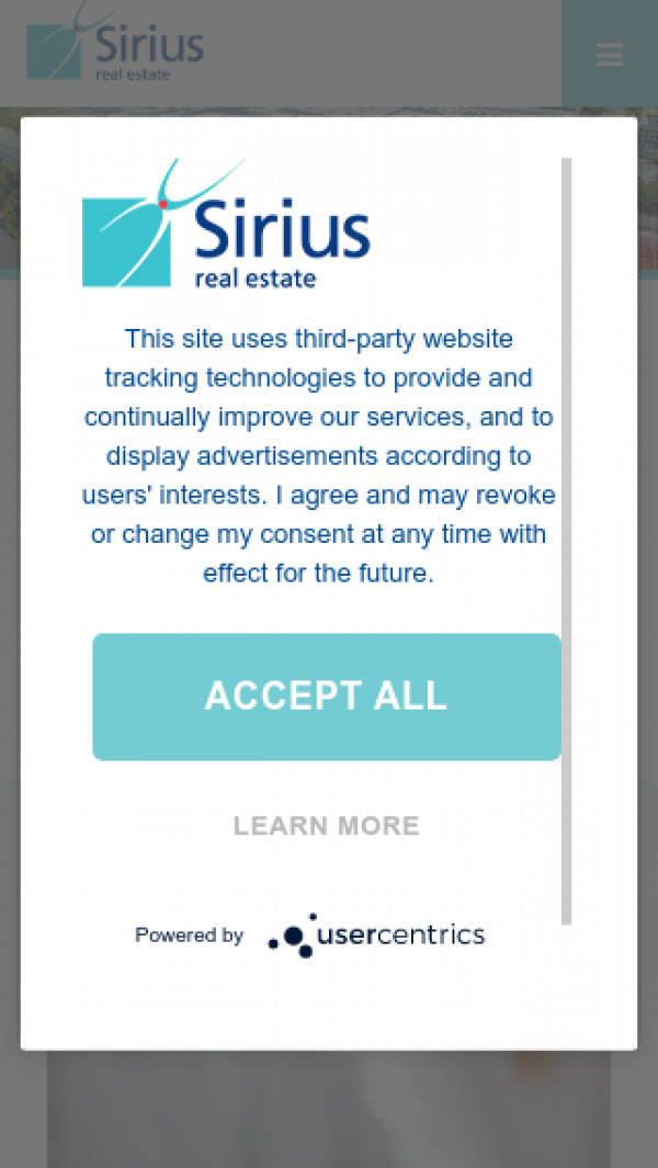 Mobile screenshot of Sirius Real Estate website