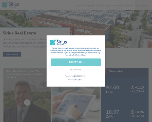 Desktop screenshot of Sirius Real Estate website