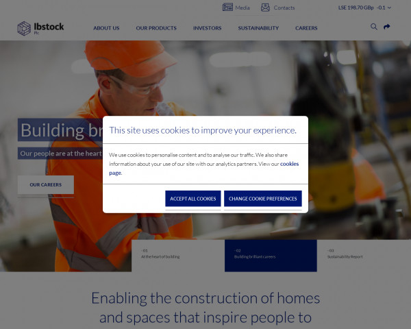 Desktop screenshot of Ibstock PLC website