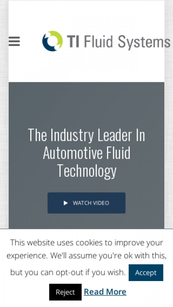 Mobile screenshot of TI Fluid Systems website