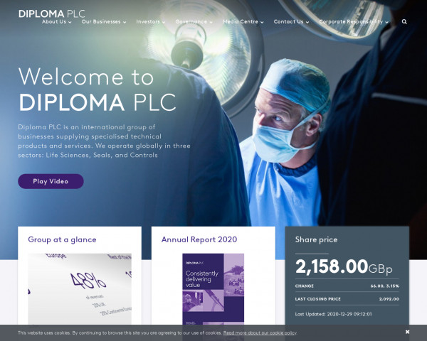 Screenshot of Home | Diploma PLC