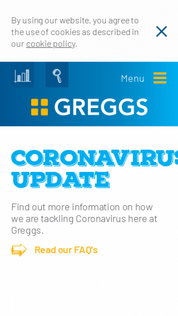 Mobile screenshot of Greggs PLC website