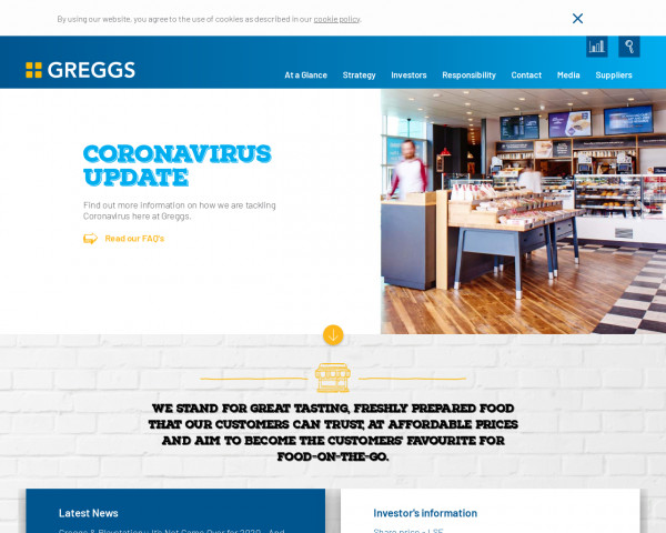 Screenshot of Greggs Corporate