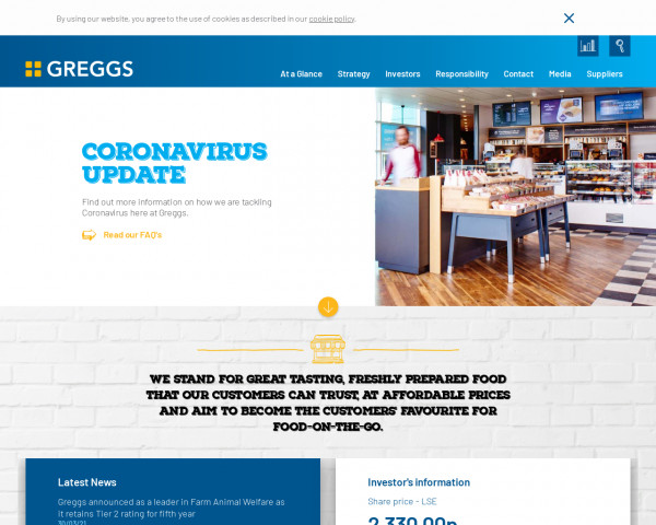Desktop screenshot of Greggs PLC website