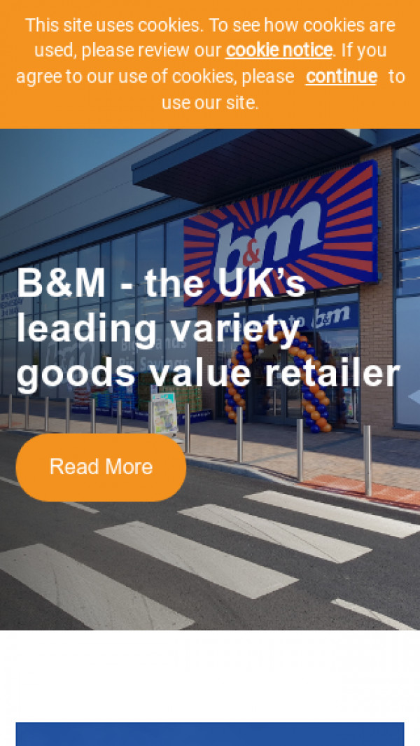 Mobile screenshot of B & M European Retail Value website