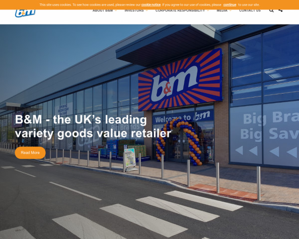 Desktop screenshot of B & M European Retail Value website