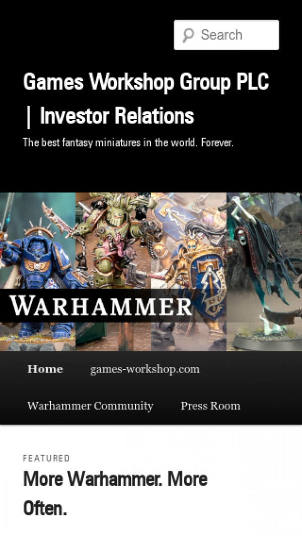 Mobile screenshot of Games Workshop website