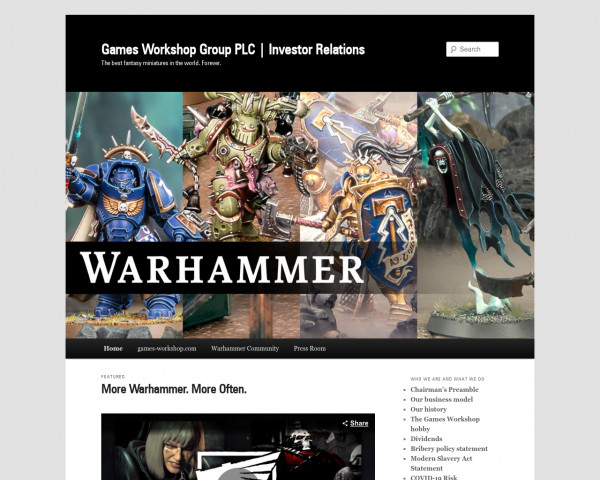 Desktop screenshot of Games Workshop website