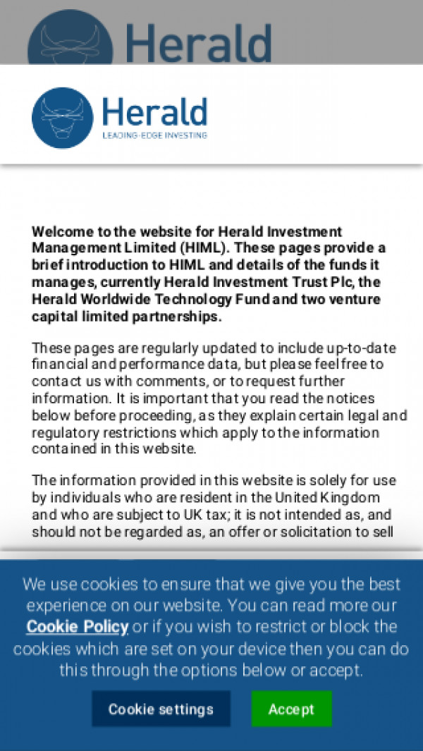 Mobile screenshot of Herald website