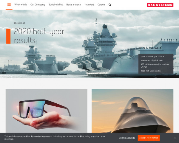 Desktop screenshot of BAE Systems website