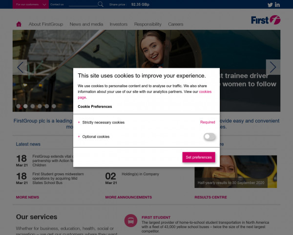 Screenshot of Home – FirstGroup plc