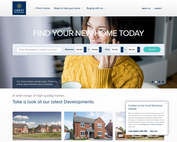 Desktop screenshot of Crest Nicholson website