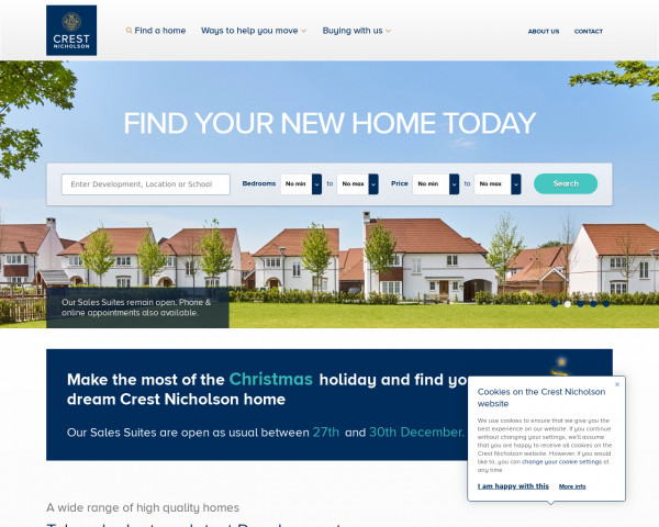 Screenshot of New Homes for Sale in England | Crest Nicholson