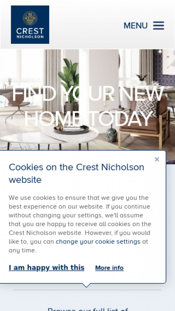 Mobile screenshot of Crest Nicholson website