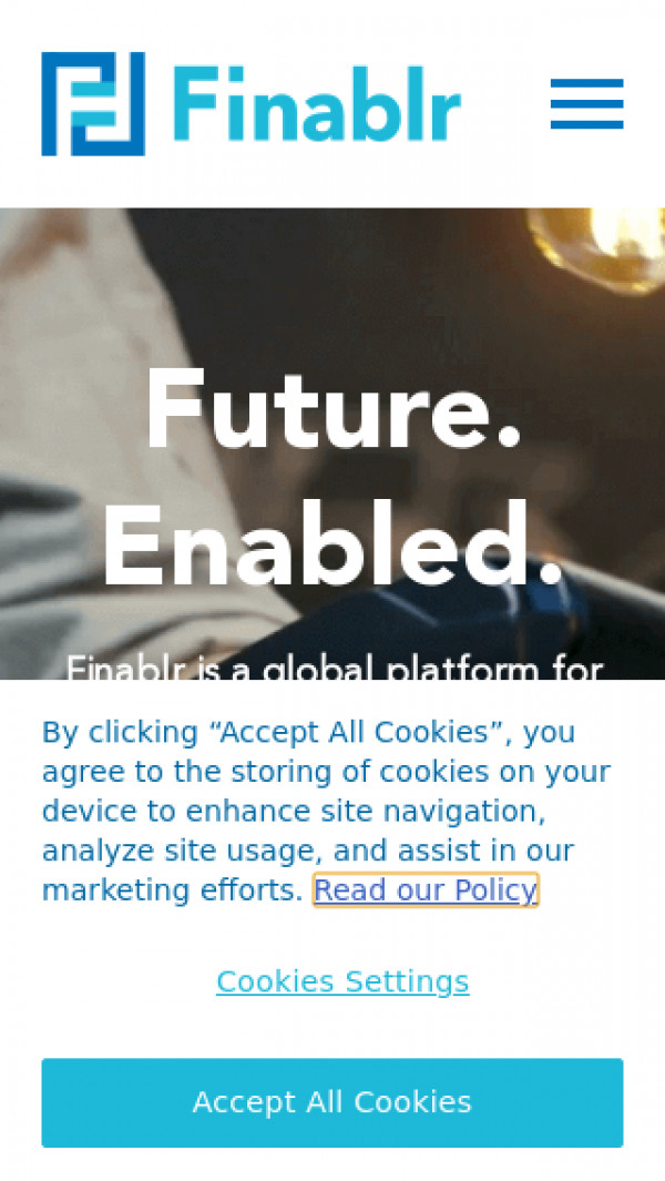 Mobile screenshot of Finablr website