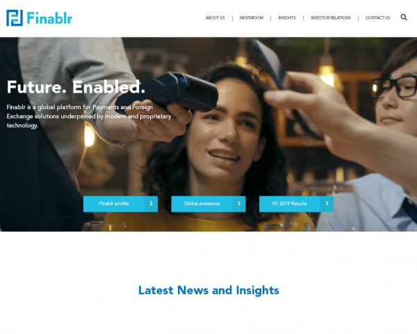 Screenshot of Finablr | Payments and Foreign Exchange | Technology Platform