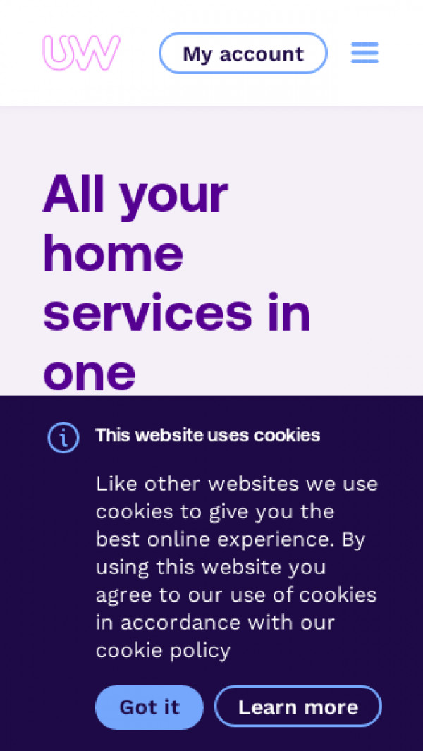 Mobile screenshot of Telecom Plus Utilities Warehouse website