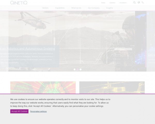 Desktop screenshot of QinetiQ website