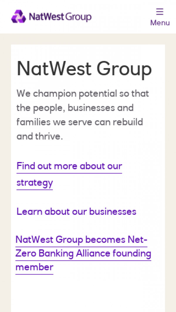 Mobile screenshot of Natwest Group website