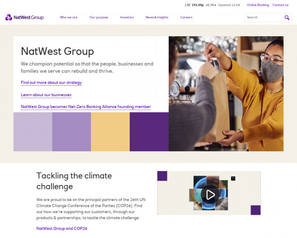 Desktop screenshot of Natwest Group website
