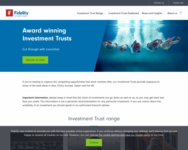 Desktop screenshot of Fidelity Investment Trusts website