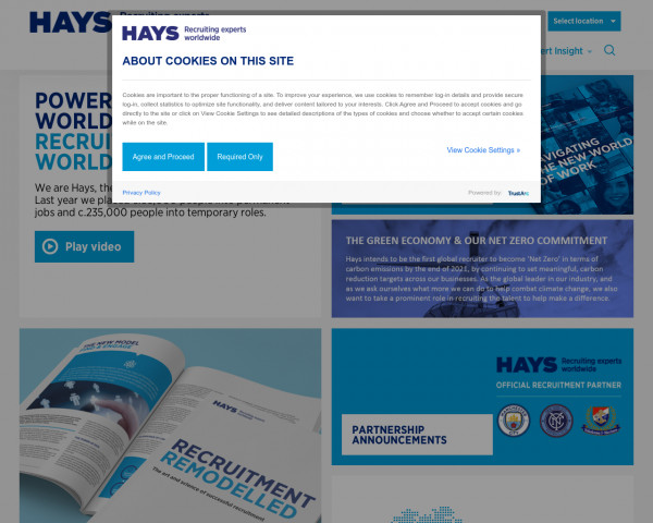 Desktop screenshot of Hays PLC website