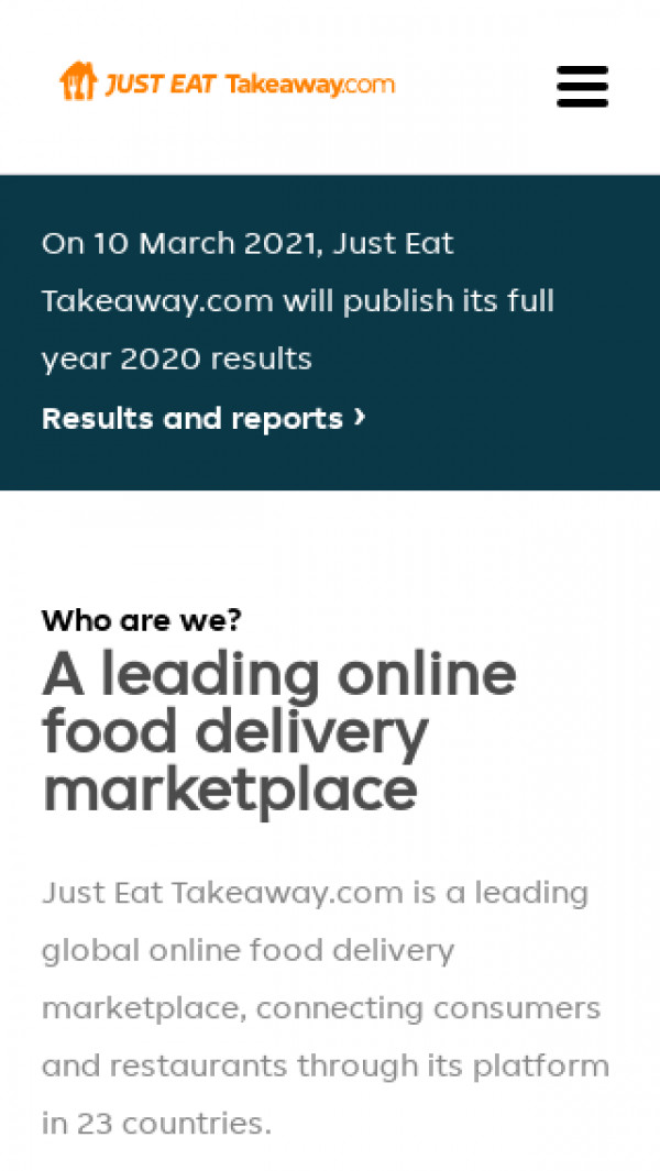Mobile screenshot of Just Eat Takeaway website