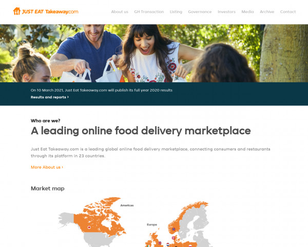 Desktop screenshot of Just Eat Takeaway website