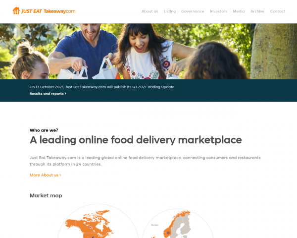 Screenshot of Just Eat Takeaway.com   Leading online food delivery marketplace