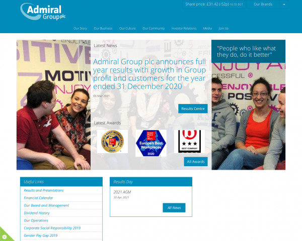 Desktop screenshot of Admiral Group website