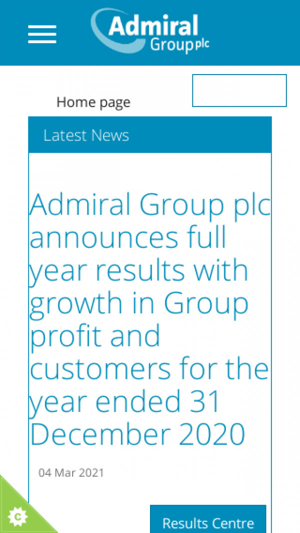 Mobile screenshot of Admiral Group website